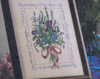 CROSS STITCH PATTERN - Blue & Purple Flower Bouquet Cross Stitch Sampler - Herbs Cross Stitch - Vintage Cross Stitch