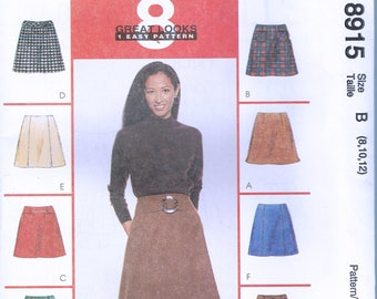 Size 8-12 Misses' Easy Skirt Sewing Pattern - A Line Skirt Pattern - Flared Skirt Sewing Pattern - Short Skirt Pattern - McCalls 8915