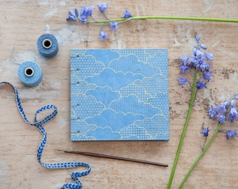 Hand Bound Sketchbook - Blue & Gold Clouds - Journal / Notebook - Coptic Stitch - Square - Travel Journal / Diary / Guest Book - Sky