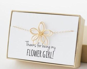 Flower Girl Gift - Flower Girl Bracelet - Gold Flower Bracelet - Thanks for Being My Flower Girl - Wire Flower - Little Girl Bracelet