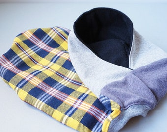 Dog clothing/ Hoodie Yellow and blue plaid tank with hoodie