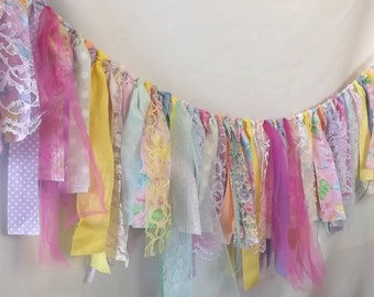 Spring Wedding Garland, Fabric Easter Party Banner, Birthday Party Photo Prop, Table Decoration Backdrop or Wall Hanging, Event Tent Decor