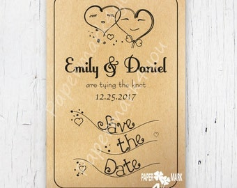 Kraft Rustic Save The Date_Request Custom Color_Doodle Bride and Groom Hearts Save the Date_Printable/Physical Save Date Postcard/Envelope