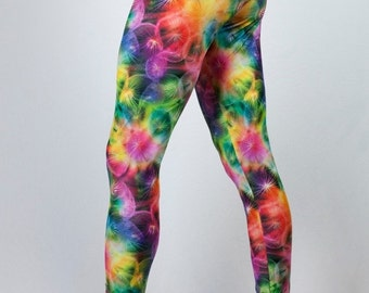 Limited Edition Print Dandelion Pants // Make a Wish Psychedelic Pants // Burning Man Festival Clothing