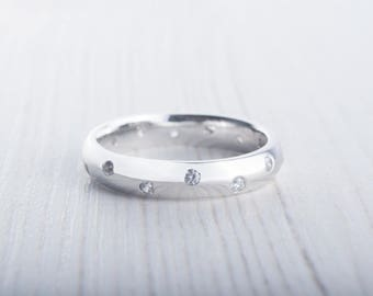 4mm wide Solid sterling silver Wedding Ring with White Sapphires