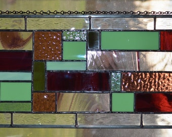 Art Deco Stained Glass Panel Handmande Abstract Geometric Frame Recycle FUNKY purple green wine colorful