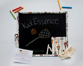 Lacrosse Theme Travel Chalkboard  - Travel Chalkboard Lacrosse - Lacrosse Portable Drawing Mat -Lacrosse Chalkboard in White