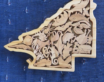 Unique Handcrafted Australian State Queensland Animal puzzle - 22.0cm x 18.0cm made from solid Australian Blackbutt Timber