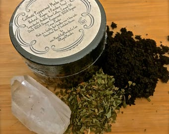 Caffenia Peppermint Mocha Coffee Scrub: Natural, Vegan, & Paraben Free. Exfoliating, Cellulose and Dark Circle Reducing. Witch, Goth, Hippie