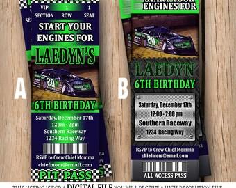 Racing Ticket Birthday Invitation - Dirt Track Boy Birthday - Printable - Race Car Party - Ticket Invitation