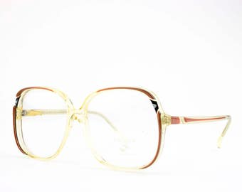 80s Vintage Glasses | Round Oversized Eyeglass Frame | 1980s NOS Eyeglasses | Vintage Deadstock - Livinia