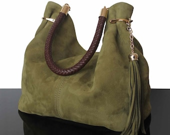 Olive suede bag, Bucket olive bag, hobo bags, Luxury bags, fashion bags, hobo olive, olive handbags, olive suede bags
