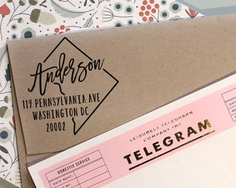 Custom Washington DC State Return Address Stamp, perfect gift for holidays, housewarming parties and weddings or as Business Card