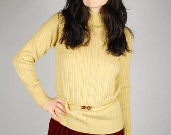 1960's Sweater - Tan Turtleneck Sweater - Minimalist Catalina Knit Sweater - Size M