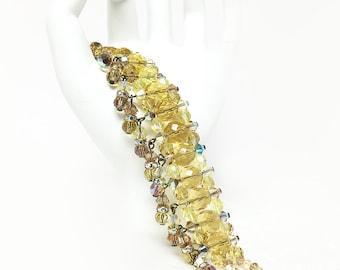 Statement Cuff, Swarovski Cuff Bracelet, Crystal Bridal Cuff, Crystal Bracelet, Gold Cuff, Crystal Fringe Cuff, Statement Crystal Bracelet