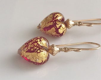 Red Heart Venetian Glass Earrings / Glass Heart Earrings / Murano Glass / Gold Filled Earrings / Red and Gold Earrings