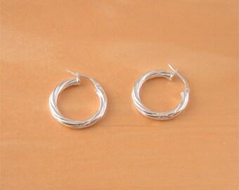 925 Silver Hoop Earrings/21mm Hoop Earrings/Creole Style Earrings/Twisted Hoop Earrings/Hoop Earrings/Hinge Clip Hoop Earrings/Hoop Earrings