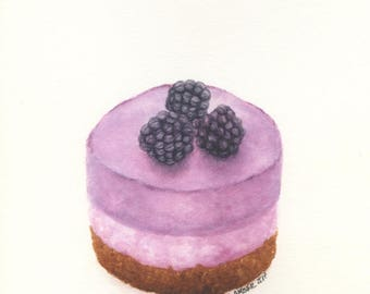 Chocolate Blackberry Cheesecake - ORIGINAL Painting (Still Life Wall Art)