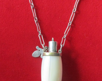 Antique Mother-of-Pearl Perfume Bottle Necklace  With Spoon & Dauber