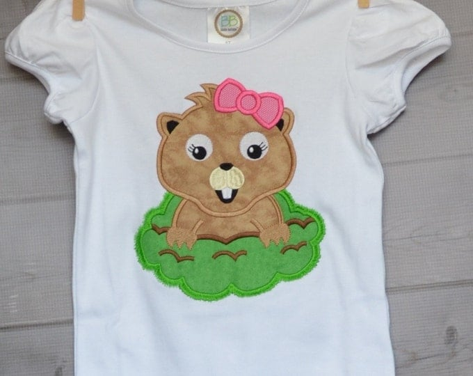 Featured listing image: Personalized Ground Hog Applique Shirt or Onesie Girl or Boy