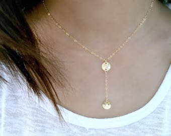 Personalized Y Necklace initial Lariat Initial necklace monogram Initial hand stamped letters 14k gold filled circle disc monogram jewelry