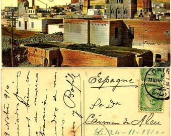 Rare !!! Original Atq EGYPT 1910 El Cairo Mosque Mosquee ISLAM Muslim Postcard, Tombs of the Mamelukes & Citadel Fortress / 2 PYRAMID Stamps