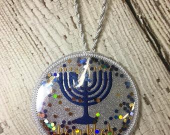 Menorah - Hanukkah - Snow Globe - Ornament -  In The Hoop - DIGITAL Embroidery DESIGN
