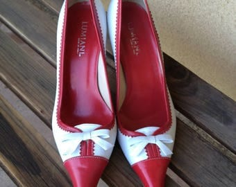 Red White Pumps, Red White Shoes, Lumiani Shoes, Pointy heels, Pointy Pumps, Kitten heel Pumps, Red Pointy Pumps, Two tone Pumps, Italian