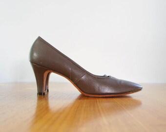 60s D'Cardo russet brown leather heels / 8