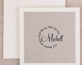 Return Address Stamp Personalized Custom Name Gift Card Handle Mounted Rubber Stamp Or Pre-inked Stamp R487