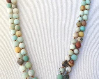 Amazonite Necklace & Genuine Opal Pendant
