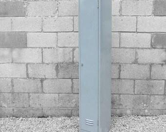 Vintage Metal Locker Grey Industrial 1980s School Workshop Storage