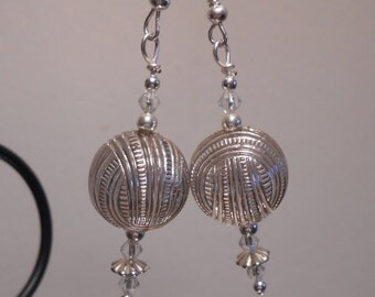 Intricate Silver Globe Earrings No. 224