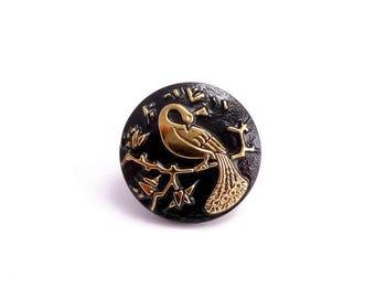 22mm Black Peacock Czech Glass Button, Czech Button, Black Czech Button, Gold Bird Button, Peacock Button, Black Bird Button BUT0050
