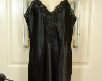 Lacy Black Satin Nightie 80s Bias Cut Spaghetti Strap Slip Dress Sears Inner Most label
