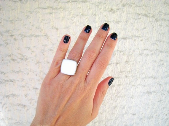 White ring, white statement ring, silver tone white resin ring, alabaster ivory modern minimalist, summer wedding bridal jewelry