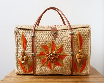 Vintage Mexican Woven Wicker Bag with Orange Raffia Flowers from Acapulco