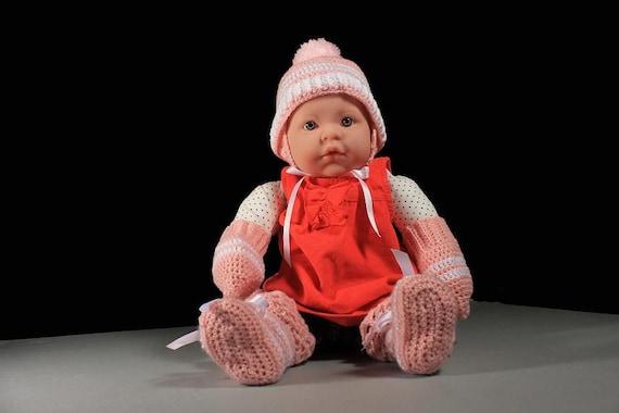 Pink Baby Set, Winter Baby Hat, Mittens, Booties, Baby Winter Set, Baby Girl, Crochet, Baby Clothes, Baby Accessories, Infant Winter Set