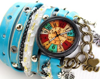 Hippie leather watch, Women's wrist watch, Rustic wrap watch with charms, Turquoise blue watch, Leather cuff, Leather bracelet