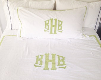 Monogram Applique King Duvet / Monogrammed Bedding / Sham