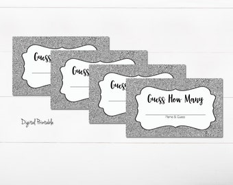 Guess How Many Game - DIGITAL Printable PDF - Silver Sparkle - Baby Shower - Wedding Bridal Shower - Family Reunion Guessing - Party Game