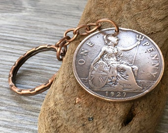 90th birthday gift, 1927 English big penny keyring, keychain, 90 years old, britannia, England, British present for him, her man or woman