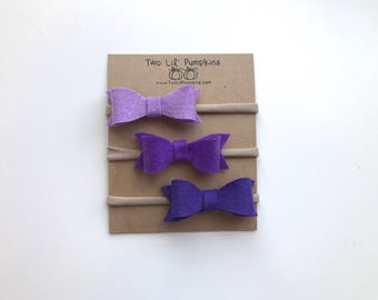 Felt Bow Headband, Bow Headband Set, Baby Headbands, Baby Bow Headband, Purple Felt Bow, Newborn Headband, Preemie Headband, Nylon Headband