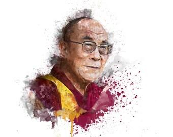 His Holiness The Dalai Lama - Watercolour illustration - Digital Art - Fine art Print / poster