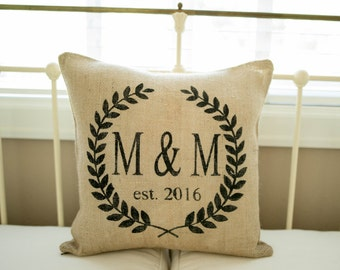 Initial Pillow Cover Set Initial Pillow Burlap Pillow  Wedding Decor  Wedding Gift  Wedding Gifts  Personalized Pillow