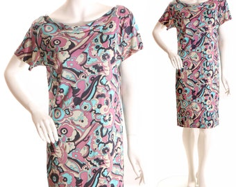 1960s Psychedelic Purple Blue Black and White Swirl Print Shift Dress