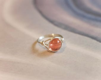 Wire ring, wire wrapped ring, gemstone wire ring, gemstone ring, pink stone ring, peach stone ring, silver ring, silver wire ring, custom