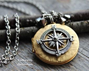 Compass Locket, Compass Jewelry, Rustic Compass, Wanderlust, Graduation Gift