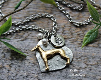 Greyhound Necklace, Whippet Necklace, Greyhound Whippet Jewelry - read full listing details -