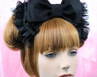 Alice Bow-lolita headbow-black bow-gothic lolita bow-lolita hair accessory-gothic headdress-kawaii accessory-creepy cute accessory